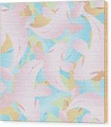 Koi Fish Powder Pink - Blue Wood Print