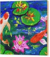 Koi Fishes Pond Wood Print
