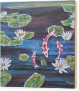 Koi In Lilly Pond Wood Print