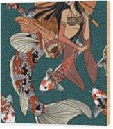 Koi Mermaid 2/4 Wood Print