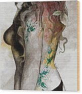 Koi No Yokan - Erotic Drawing, Sexy Tattoo Girl In Thong Biting An Apple Wood Print