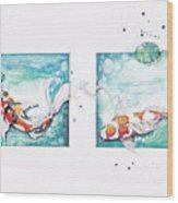 Koi Of The Tropics Wood Print