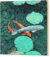 Koi Pond 3 Wood Print
