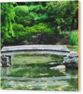 Koi Pond Bridge - Japanese Garden Wood Print