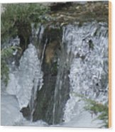 Koi Pond Waterfall Wood Print
