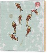 Koi School Wood Print