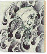 Koi Through The Water Wood Print