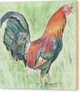 Kokee Rooster Wood Print