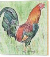 Kokee Rooster Wood Print