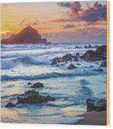 Koki Beach Harmony Wood Print by Inge Johnsson