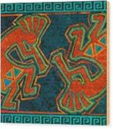 Kokopelli Dancers Wood Print