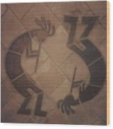 kokopelli Hand cut Tiles Wood Print