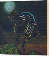 Kokopelli In Moonlight Wood Print