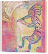 Kokopelli Sleepy Dance Wood Print