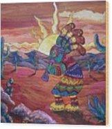 Kokopelli Sunset Wood Print