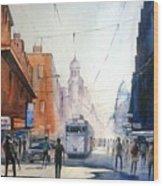 Kolkata City With Tram Wood Print