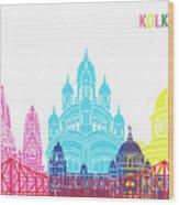 Kolkata Skyline Pop Wood Print