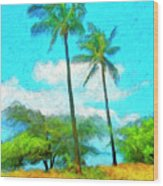 Kona Palms Wood Print