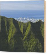 Koolau Mountains And Honolulu Wood Print