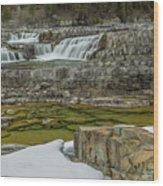 Kootenai Falls In Winter Wood Print