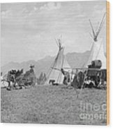 Kootenai First Nations Camp, C.1920-30s Wood Print