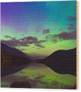 Kootenay Lake Northern Lights Wood Print