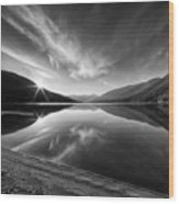 Kootenay Lake Sunrise Black And White Wood Print