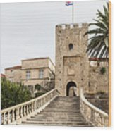 Korcula Old Town Stairs Wood Print