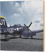 Korean War Hero F4-u Corsair Wood Print