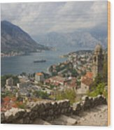 Kotor Panoramic View From The Fortress Wood Print by Kiril Stanchev