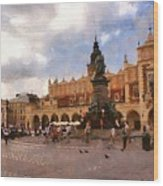 Krakow Main Market Wood Print