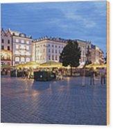 Krakow Main Square By Night Wood Print