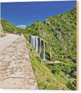 Krcic Waterfall In Knin Scenic View Wood Print