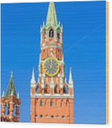 Kremlin's Clock Tower Wood Print