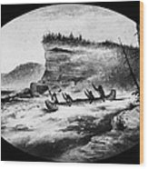 Krieghoff: Canoe On Rapids Wood Print