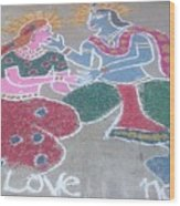 Krishna - Radha Love Wood Print by Joni Mazumder