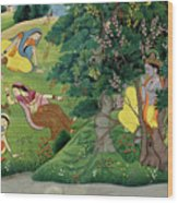 Krishna Fluting The The Milkmaids Wood Print