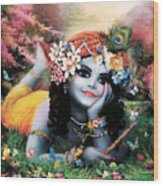 Krishna-sky Boy Wood Print