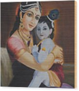 Krishna With Mother Yasoda Wood Print