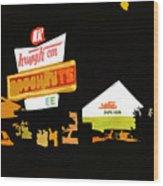 Krispy Kreme At Night Wood Print