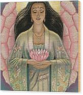 Kuan Yin Pink Lotus Heart Wood Print by Sue Halstenberg