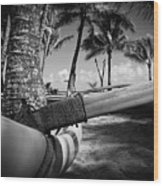 Kuau Palm Trees Hawaiian Outrigger Canoe Paia Maui Hawaii Wood Print