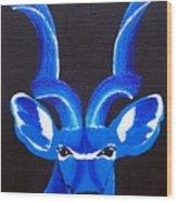 Kudu Blue Wood Print