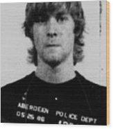 Kurt Cobain Mug Shot Vertical Black And Gray Grey Wood Print