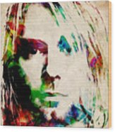Kurt Cobain Urban Watercolor Wood Print by Michael Tompsett