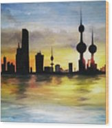 Kuwait City Sunset From The Bay Wood Print