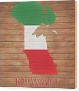 Kuwait Rustic Map On Wood Wood Print