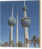 Kuwait Towers In Kuwait City, Kuwait Wood Print