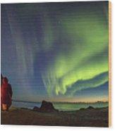 Kvalvika Under The Lights Wood Print