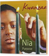 Kwanzaa Nia Wood Print by Shaboo Prints